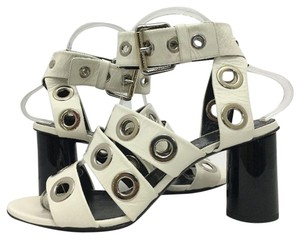 Proenza Schouler High Buckle Open Toe White Leather Sandals