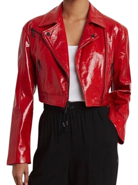 Item - Patriot Red Cropped Patent Leather Moto Jacket Size 2 (XS)