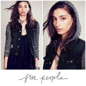 Free People Gray Womens Jean Jacket