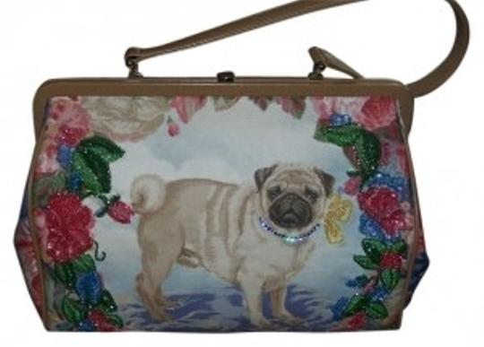 Preload https://item5.tradesy.com/images/isabella-fiore-classic-pug-with-sequin-rhinestone-detail-multicolor-cotton-and-leather-satchel-22494-0-0.jpg?width=440&height=440