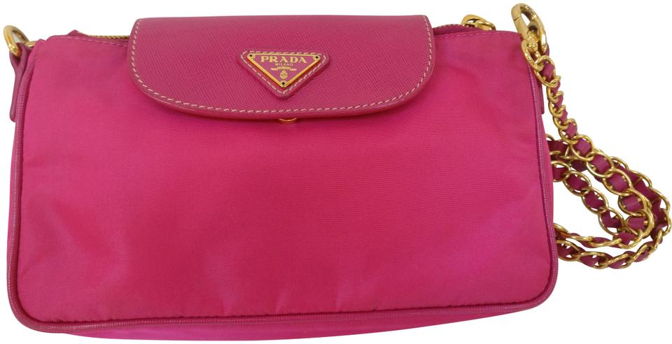 6076a9486284e9 Prada Wallet on Bt0779 Tessuto Nylon and Saffiano Leather Flap Chain Pink Canvas  Shoulder Bag