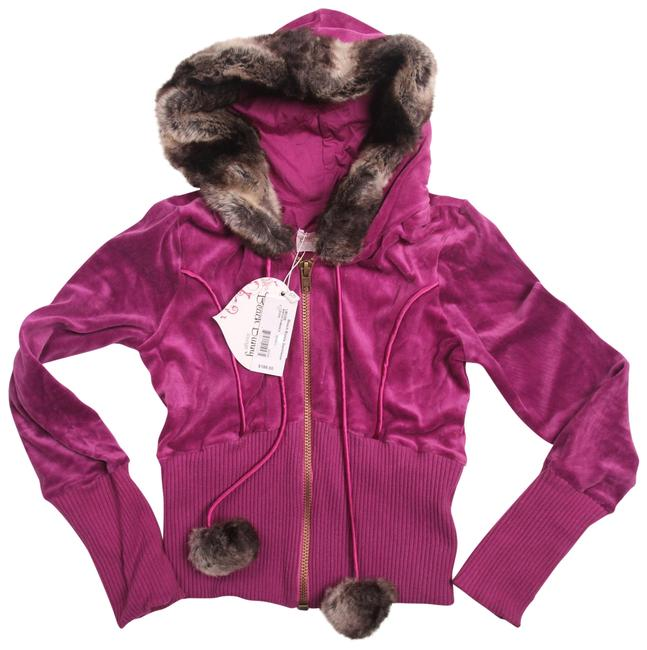 Item - Berry Purple Romance New Winter Faux Fur Hoodie Activewear Size 12 (L)