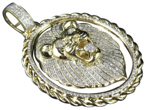 Jewelry Unlimited Men's 10K Yellow Gold Real Diamond 2.2 Inches Lion Rope Pendant Charm
