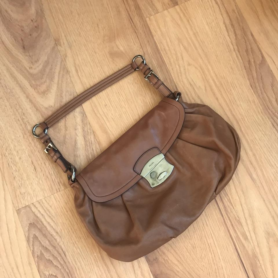Prada Leather Vintage Bag Brown Shoulder 1r4x1q