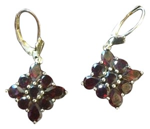 Genuine Round Cut Garnet Stones in Flower Drop Style Earrings