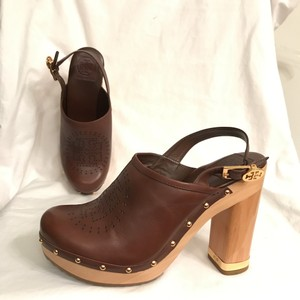 Tory Burch Mule Leather Slingback Studded Clogs Brown Platforms