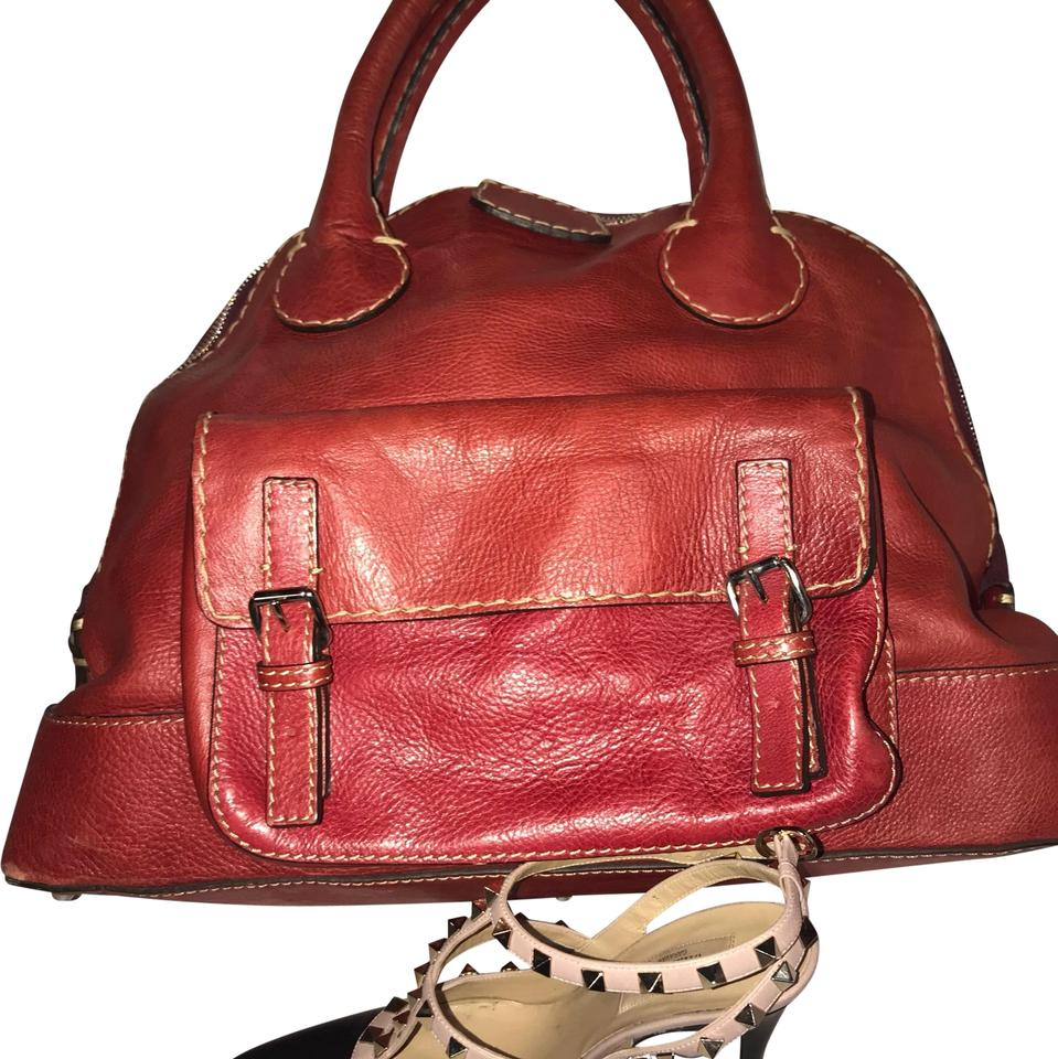 25e6100528d9 Chloé Edith Large Mint Condition Dome Bowler Red Leather Satchel ...