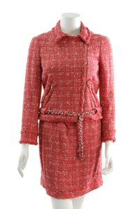 Chanel Chanel Coral Tweed & Chain Runway 2-Piece Skirt Suit