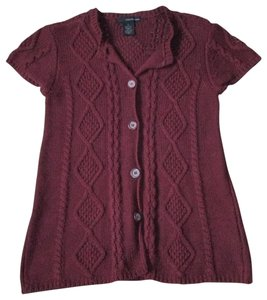 Calvin Klein Cable Knit Burgundy Chunky Sweater Winter Cardigan