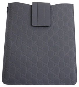 Gucci New GUCCI GG Monogram Guccissima Leather iPad Case Gray 256575 1370
