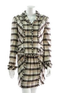 Chanel Chanel Beige & Black Plaid Wool 2-Piece Skirt Suit