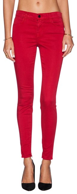 Item - Red Medium Wash Ankle Zipper Midrise Skinny Jeans Size 28 (4, S)