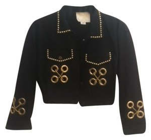 Fantasy Sportwear Studded Gold Embellishments Black Womens Jean Jacket