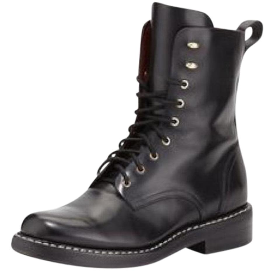 Rag & Bone Leather Black Emil Leather Bone Combat Boots/Booties 00dc64