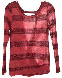Jella Couture Striped Open Shoulder Scoop Back Backless Cotton Sweater