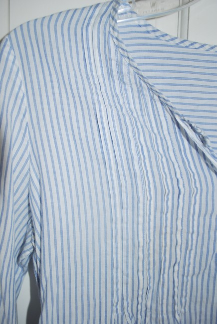 Old Navy Pin Tucking Blue & White Striped Maternity Top