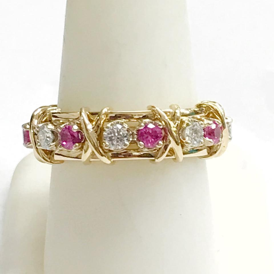 39a865d398b2 Tiffany   Co. Jean Schlumberger 16 Stone Diamond Pink Sapphire 18 ...
