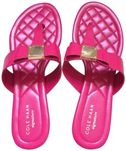 Cole Haan Bow Flat Leather Pink Sandals