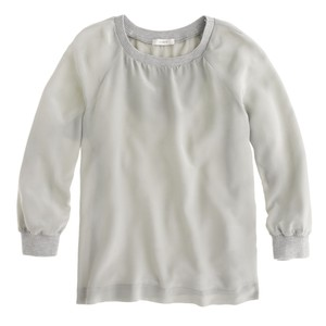 J.Crew Chic Casual Silk Neutral Summer Top Gray