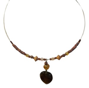 Handmade Handmade Wire Choker, Brown Heart Shape Gem w/ Brown Seed Beads, Wood Spacers and Facet