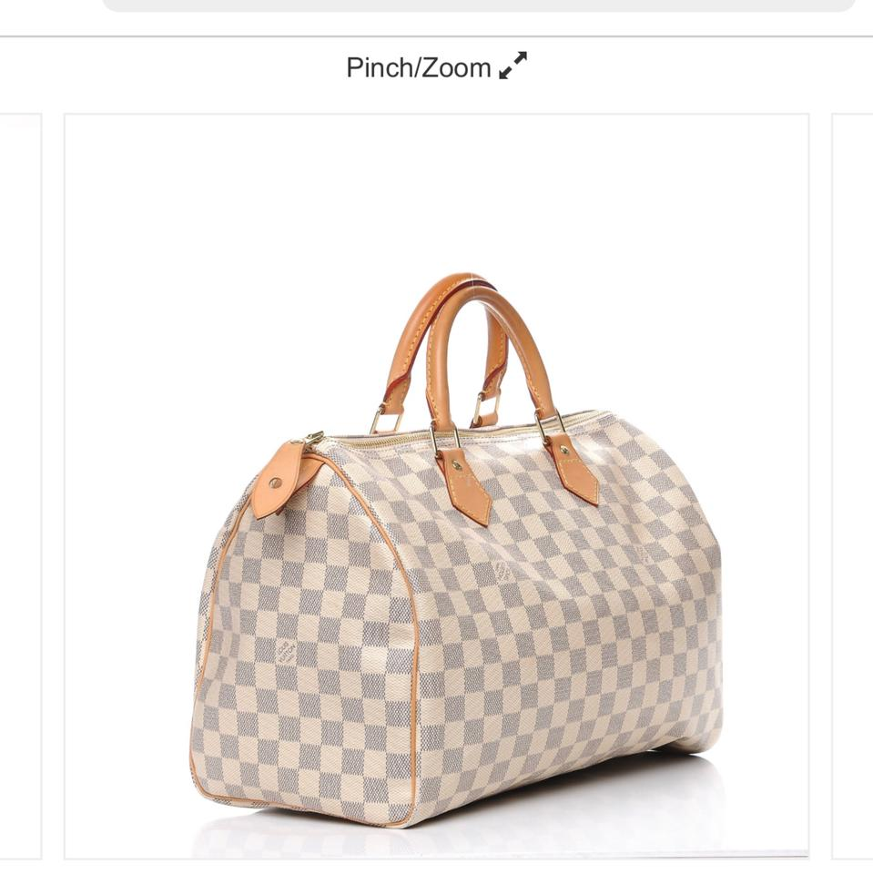 8c3a48b7e1f0 Louis Vuitton Speedy 35 Damier Azur Blue   White Checkered Canvas ...