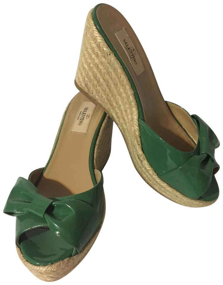 127723c2445 Valentino Green Bow Espadrilles Wedges Size EU 38 (Approx. US 8 ...