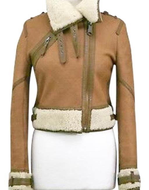 Item - Tan Shearling Cropped Aviator Bomber Jacket Size 4 (S)