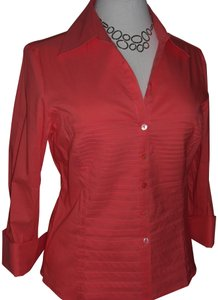 Tracy M Pintucked Cotton Coral Button Down Shirt Peach