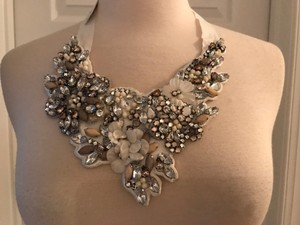 J.Crew White Crystal and Flower Bib Necklace