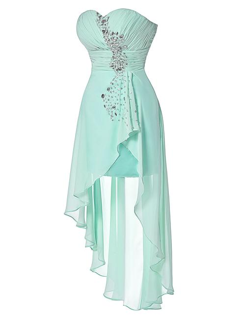 Grace Karin Chiffon Hi-lo Sequin Satin Dress