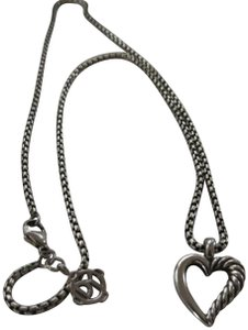 David Yurman Small Smooth/Twisted Cable Open Heart SS Pendant; 1.7mm 16""