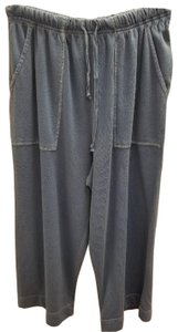 Hot Cotton Cropped Pockets Elastic Drawstring Capris faded blue