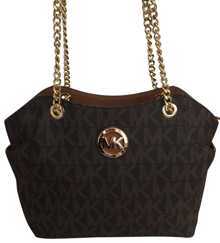 e2977fc30996 MICHAEL Michael Kors Jet Set Large Chain Tote Pvc Mk Signature Brown ...