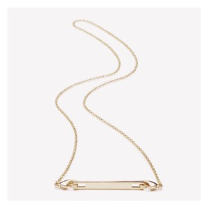 Eddie Borgo Gold Plated Safety Chain Extra Thin Bar Pendant Necklace