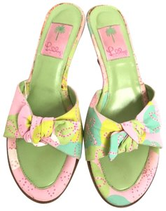 Lilly Pulitzer Green & Pink Mules