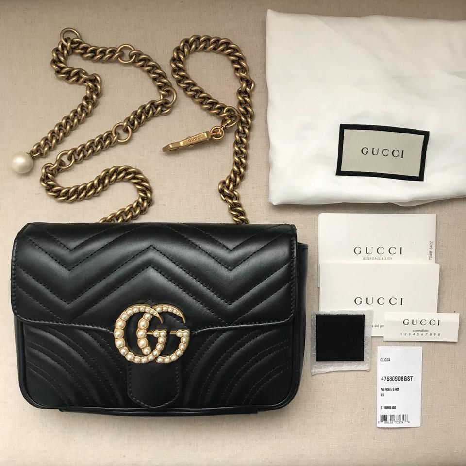 ab221a43084 Gucci Marmont Matelasse Pearl Gg Flap Belt Black Leather Cross Body Bag -  Tradesy