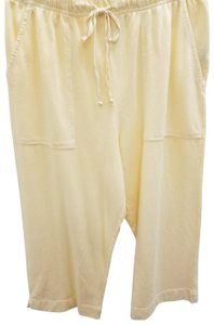 Hot Cotton Casual Cropped Pockets Elastic Capris yellow