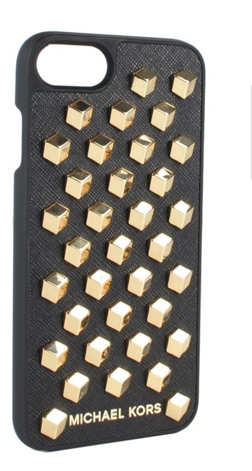 huge discount 08973 3941b MICHAEL Michael Kors Black/ Gold Studded Saffiano Leather Iphone 7 Plus  Case Tech Accessory