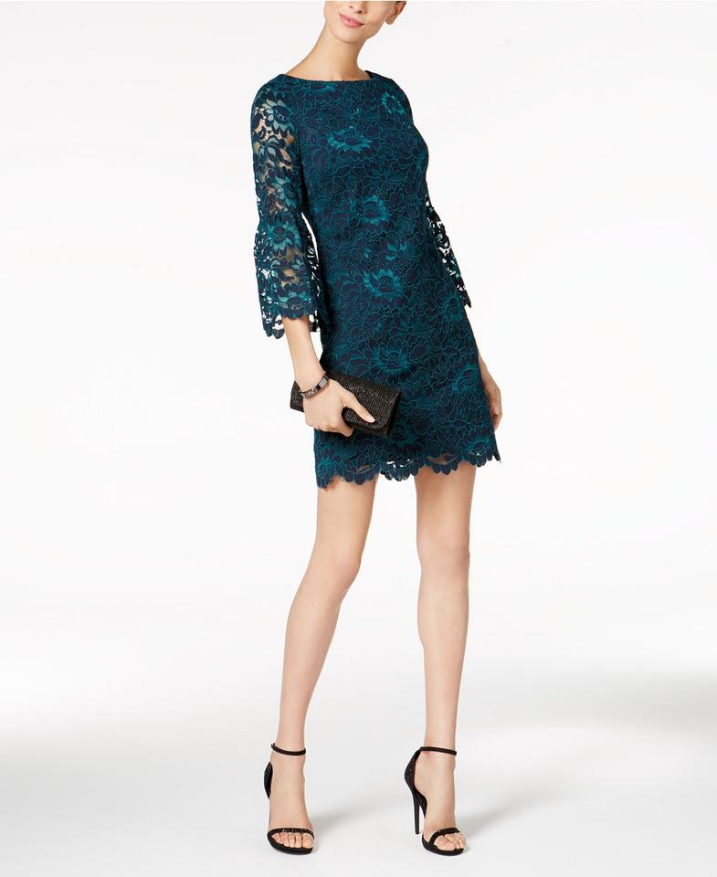 Jessica Howard Teal Bell Sleeve Lace Sheath Short Formal Dress Size