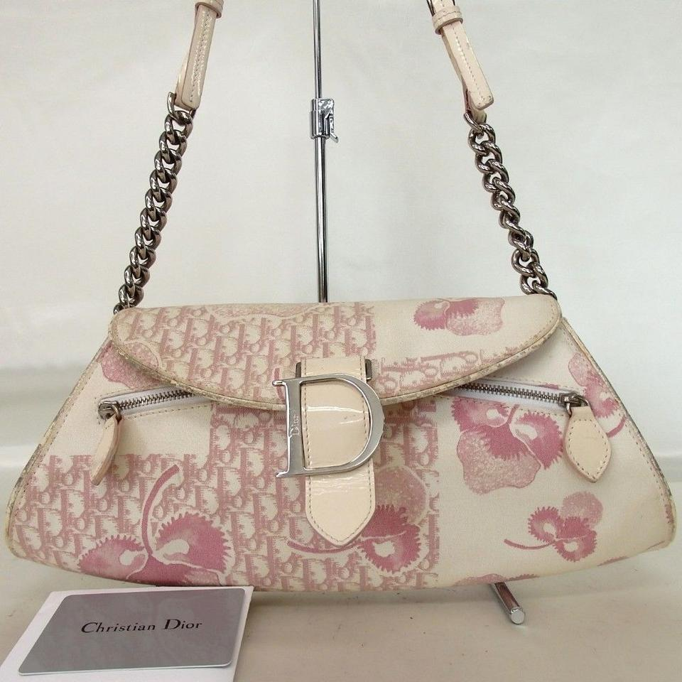 Dior Spring Summer 2007 Trotter Romantique Collection Limited Edition Off  White Pink Canvas Hobo Bag 1960d50e9e252