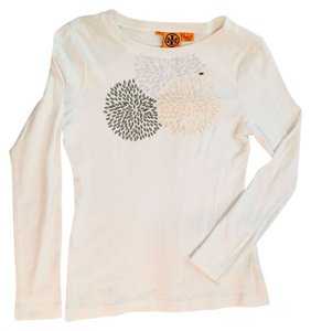 Tory Burch T Shirt White with black and gold embellishments