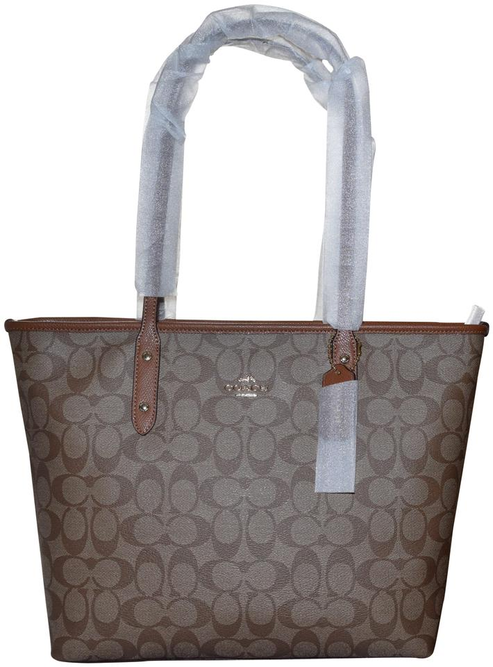 b741f7aa7d49 Coach Monogram Signature Leather Canvas Tote in Saddle Brown and Khaki  Image 0 ...