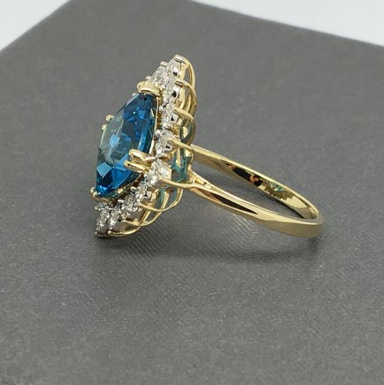 Other 14K Yellow Gold Natural Diamond and Cushion Cut Blue Topaz Ring