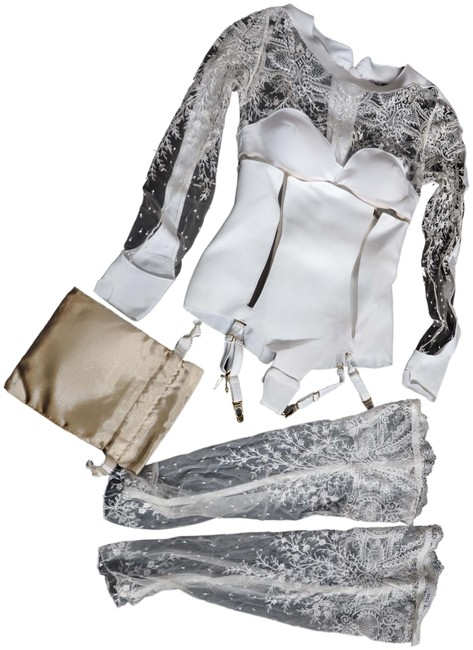 Item - White Body Suit with Lace Trim For Boudoir.