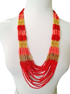 Other Shades Of Orange Multi-Strand Seed Bead & Gold Necklace