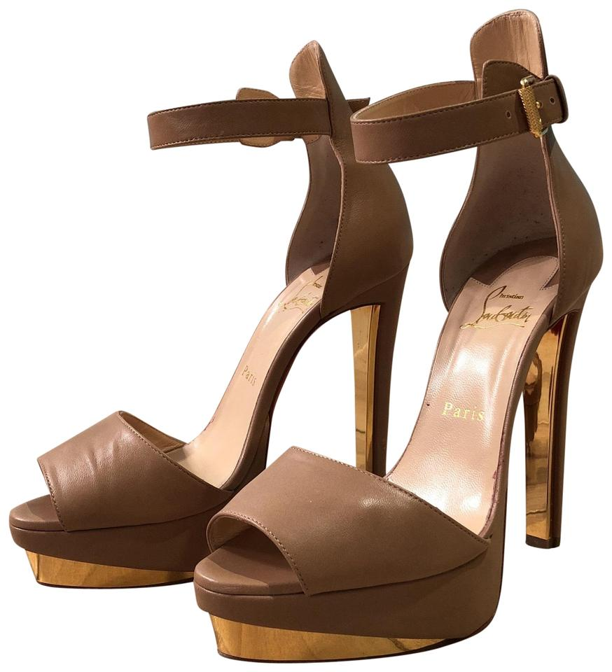 Christian Louboutin Nude/Gold Nappa Leather Platforms Tuctopen 140 Shiny Platforms Leather 9b2067