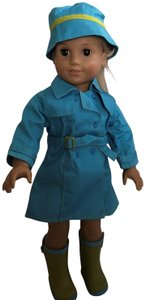 American Girl American girl raincoat hat boots outfit NOT DOLL - outfit only