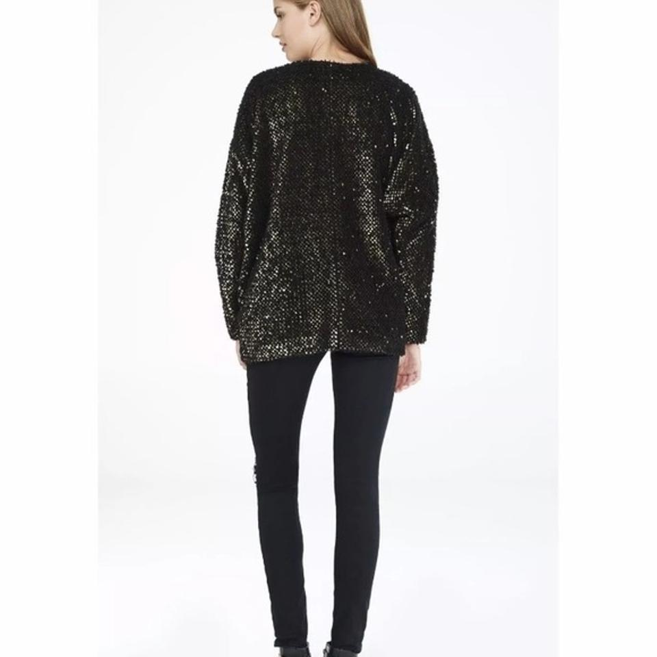 8def27a0168c Express Fuzzy Sequin Cardigan Coat Jacket Xs Gold and Black Sweater ...