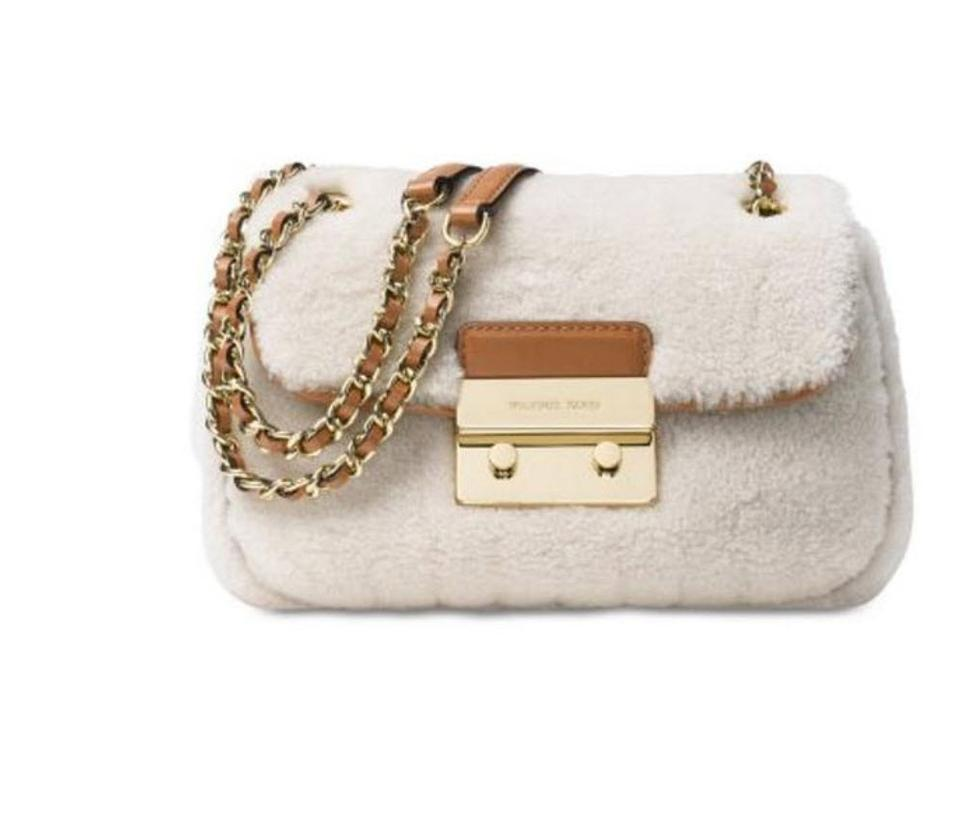 609a53961f10 Michael Kors Sloan Small Chain Shoulder White Leather Cross Body Bag ...