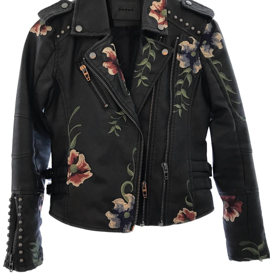blacktapeembroideredleatherjacketwstuddetailing leather faux black jacket stud w embroidered detailing tape products image